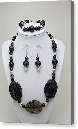 3548 Cracked Agate Necklace Bracelet And Earrings Set Canvas Print by Teresa Mucha