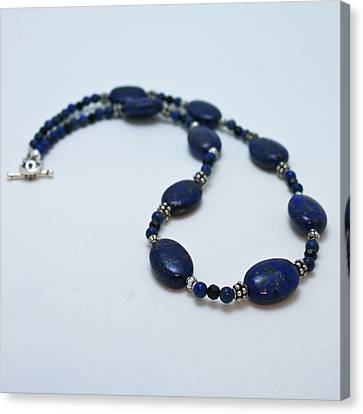 3553 Lapis Lazuli Necklace And Earrings Set Canvas Print