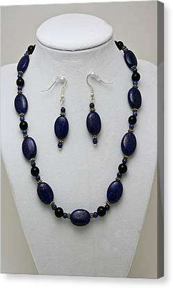 3555 Lapis Lazuli Necklace And Earring Set Canvas Print by Teresa Mucha