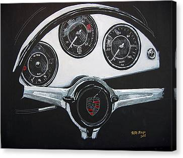 Canvas Print featuring the painting 356 Porsche Dash by Richard Le Page