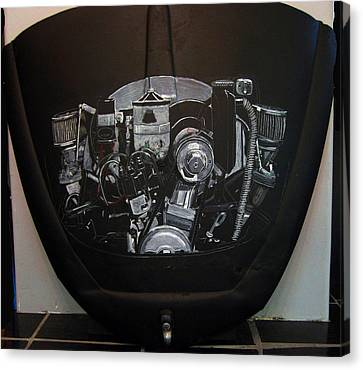 Canvas Print featuring the painting 356 Porsche Engine On A Vw Cover by Richard Le Page