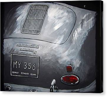 Canvas Print featuring the painting 356 Porsche Rear by Richard Le Page
