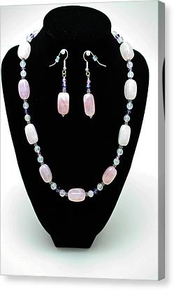 3560 Rose Quartz Necklace And Earrings Set Canvas Print by Teresa Mucha