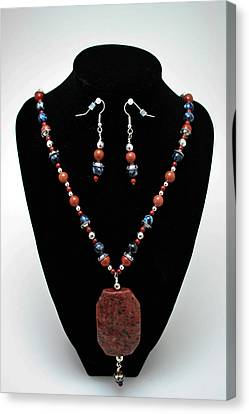 3578 Jasper And Agate Long Necklace And Earrings Set Canvas Print by Teresa Mucha