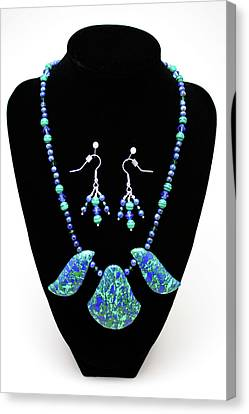 3582 Lapis Lazuli Malachite Necklace And Earring Set Canvas Print by Teresa Mucha