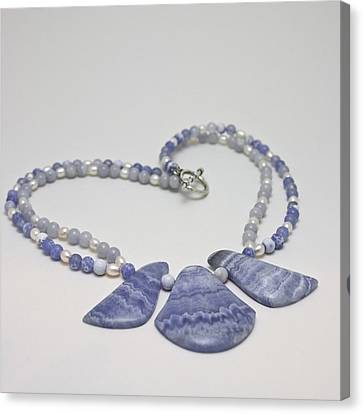 3588 Blue Banded Agate Necklace Canvas Print by Teresa Mucha