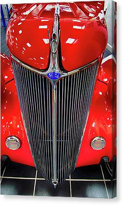 Street Hod Rods Canvas Print - 36 Ford V-8 Grill by Don Columbus