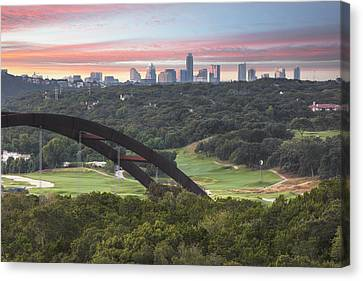 360 Bridge And Downtown Austin 2 Canvas Print by Rob Greebon