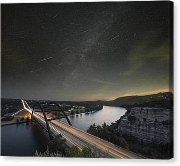 360 Bridge And The Perseid Meteor Shower Canvas Print by Rob Greebon