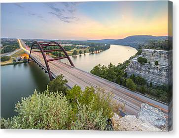 360 Bridge Sunset Over Austin In August 2 Canvas Print by Rob Greebon
