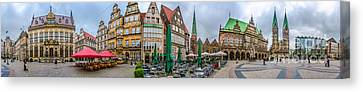 360 Panorama Of Famous Bremen Market Square Canvas Print by JR Photography