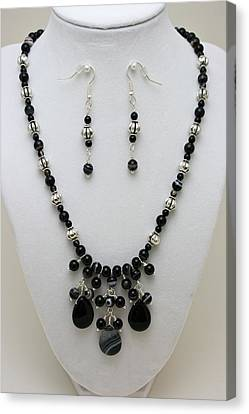 3601 Black Banded Onyx Necklace And Earrings Canvas Print by Teresa Mucha
