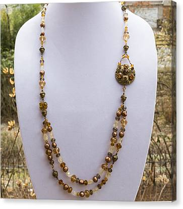 3615 Long Pearl Crystal And Citrine Necklace Featuring Vintage Brass Brooch  Canvas Print by Teresa Mucha