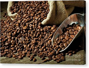 Canvas Print featuring the photograph Espresso And Coffee Grain by Gualtiero Boffi