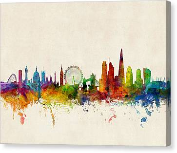 United Kingdom Canvas Print - London England Skyline by Michael Tompsett