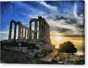Antiquity Canvas Print - Temple Of Poseidon During Sunset by George Atsametakis