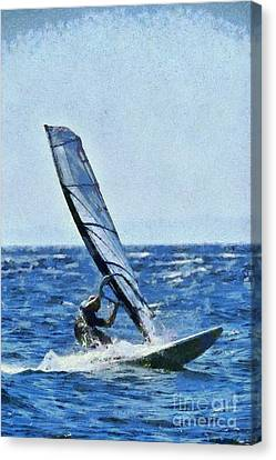 Board Canvas Print - Windsurfing by George Atsametakis