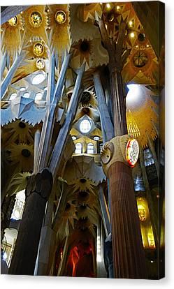 Artistic Achitecture Within The Sagrada Familia In Barcelona Canvas Print by Richard Rosenshein