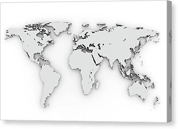 3d Silver World Map Canvas Print by Chen Hanquan