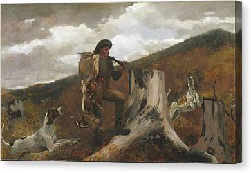 A Huntsman And Dogs Canvas Print by Celestial Images