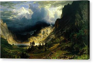 A Storm In The Rocky Mountains Canvas Print by Albert Bierstadt