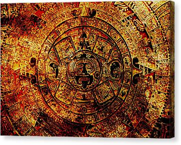 Mayan Character Canvas Print - Ancient Mayan Calendar, Abstract Color Background. by Jozef Klopacka