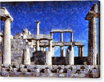Gulf Canvas Print - Aphaia Athina Temple by George Atsametakis