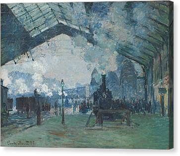 Arrival Of The Normandy Train, Gare Saint-lazare Canvas Print by Claude Monet