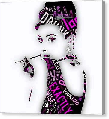 Audrey Hepburn Breakfast At Tiffany's Quotes Canvas Print by Marvin Blaine