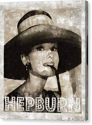 Audrey Hepburn Hollywood Actress Canvas Print by Mary Bassett