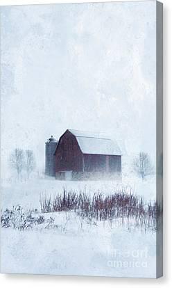 Barn In Winter Canvas Print by Jill Battaglia