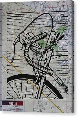 Bike 2 On Map Canvas Print