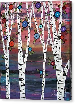 4 Birches Canvas Print by Karla Gerard
