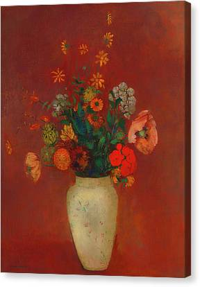Canvas Print featuring the painting Bouquet In A Chinese Vase by Odilon Redon