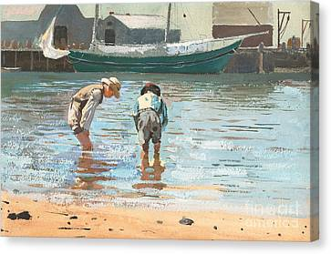 Boys Wading Canvas Print by Winslow Homer