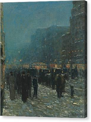 Broadway And 42nd Street Canvas Print by Childe Hassam