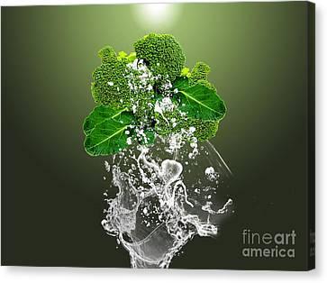 Broccoli Splash Canvas Print by Marvin Blaine