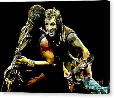 Bruce Springsteen Canvas Print - Bruce Springsteen Clarence Clemons by Marvin Blaine