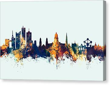 Bruxelles Canvas Print - Brussels Belgium Skyline by Michael Tompsett