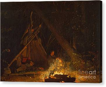 Camp Fire Canvas Print by Winslow Homer