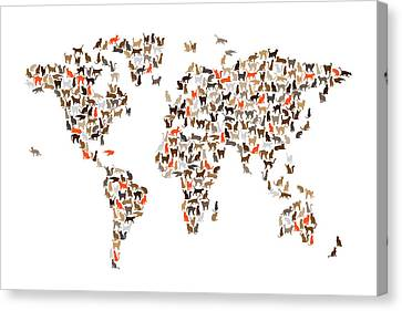 Cats Map Of The World Map Canvas Print
