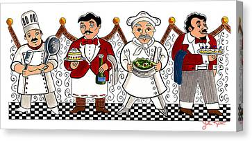 4 Chefs Canvas Print by John Keaton