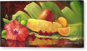 4 Cherries Canvas Print by Laurie Hein
