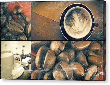 Stylized Beverage Canvas Print - Coffee Collage by Ezume Images