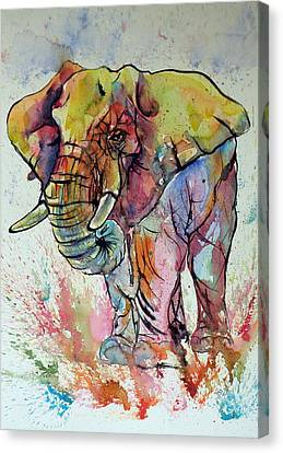 Colorful Elephant Canvas Print by Kovacs Anna Brigitta