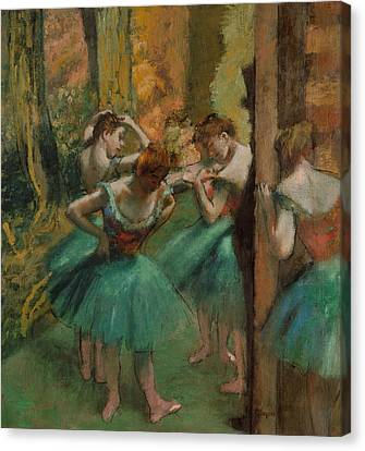 Dancers, Pink And Green Canvas Print