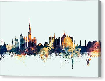 Dubai Skyline Canvas Print by Michael Tompsett