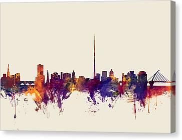 Dublin Ireland Skyline Canvas Print by Michael Tompsett