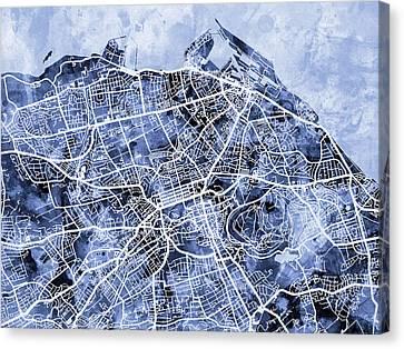 Edinburgh Street Map Canvas Print by Michael Tompsett