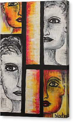 Canvas Print featuring the painting 4 Faces by Sladjana Lazarevic